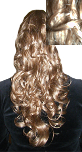 Long Curly Clip On Hairpiece Ponytail 613-36-Long Curly Clip On Hairpiece Ponytail