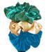 Neero & Ana Satin Skrunchies Green Corked Champagne Picnic Blue-Neero & Ana Satin Skrunchies Green Corked Champagne Picnic Blue